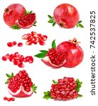 fresh pomegranate isolated on... | Shutterstock . vector #742537825