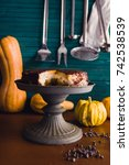 chocolate and pumpkin...   Shutterstock . vector #742538539