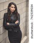 portrait of beautiful serious... | Shutterstock . vector #742539034