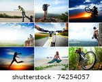collage with sport and travel... | Shutterstock . vector #74254057