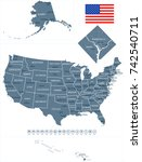 usa map and flag   highly... | Shutterstock .eps vector #742540711