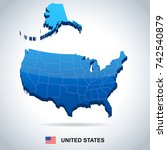 usa map and flag   three... | Shutterstock .eps vector #742540879