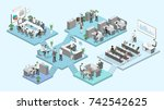 Isometric flat 3d abstract office floor interior departments concept vector. conference hall, offices, workplaces, director of the office interior | Shutterstock vector #742542625