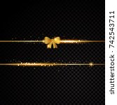 two golden lines with bow and... | Shutterstock .eps vector #742543711