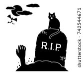 cat sitting by gravestone and... | Shutterstock .eps vector #742544671