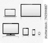 tv screen  lcd monitor  laptop  ... | Shutterstock .eps vector #742544887