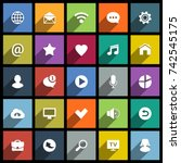 set of universal flat icons for ... | Shutterstock .eps vector #742545175