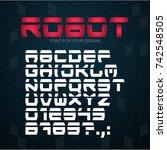 robot technology font.... | Shutterstock .eps vector #742548505