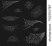 cobweb set on black background. ... | Shutterstock .eps vector #742551787