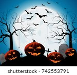 halloween poster on blue... | Shutterstock .eps vector #742553791