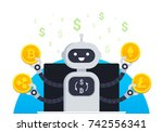 cryptocurrency trading bot... | Shutterstock .eps vector #742556341