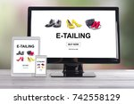 Small photo of E-tailing concept shown on different information technology devices