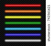 neon light tube. set of... | Shutterstock .eps vector #742561621