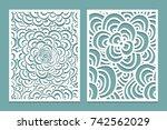 set of laser cut pattern panel... | Shutterstock .eps vector #742562029