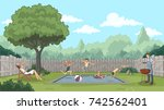 cute happy cartoon children... | Shutterstock .eps vector #742562401