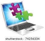 Jigsaw puzzle pieces flying out of a stylish laptop computer. Computer application concept. - stock vector