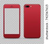 realistic red smartphone... | Shutterstock .eps vector #742567615