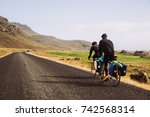 bikers with saddle bags and... | Shutterstock . vector #742568314