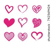 beautiful seamless romantic... | Shutterstock .eps vector #742569424