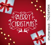 merry christmas card invitation ... | Shutterstock .eps vector #742569544