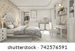 3d rendering cozy pastel... | Shutterstock . vector #742576591