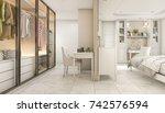 3d rendering cozy pastel... | Shutterstock . vector #742576594