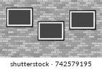frames on the wall. photoframe... | Shutterstock .eps vector #742579195