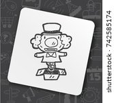 doodle surprise box   Shutterstock .eps vector #742585174