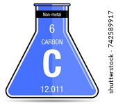 carbon symbol on chemical flask.... | Shutterstock .eps vector #742589917
