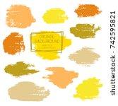vector paint brush spots  hand... | Shutterstock .eps vector #742595821