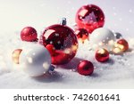 christmas balls on the snow. | Shutterstock . vector #742601641