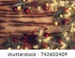 christmas fir tree with... | Shutterstock . vector #742602409