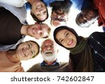 people of different ages and... | Shutterstock . vector #742602847