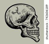retro vintage skull vector...   Shutterstock .eps vector #742606189