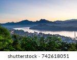 maekhong river view when sunset ... | Shutterstock . vector #742618051