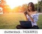 asian girl take look at digital ... | Shutterstock . vector #742630921