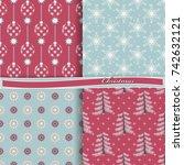 set of seamless christmas... | Shutterstock .eps vector #742632121