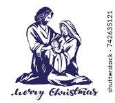 christmas story. mary  joseph...   Shutterstock .eps vector #742635121
