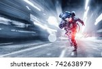 spaceman running fast. mixed... | Shutterstock . vector #742638979