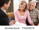 senior couple talking with... | Shutterstock . vector #74264074