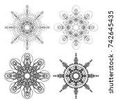 kaleidoscopic mandala inspired... | Shutterstock .eps vector #742645435