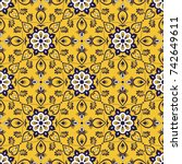 mexican tile pattern seamless... | Shutterstock .eps vector #742649611