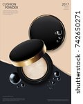 makeup powder cushion poster... | Shutterstock .eps vector #742650271