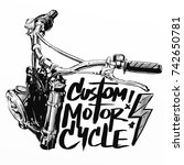 custom motorcycle poster | Shutterstock . vector #742650781