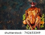 thanksgiving background. turkey ... | Shutterstock . vector #742653349