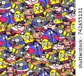 seamless pattern of funny birds.... | Shutterstock .eps vector #742655131