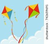 fly kite in sky  color kites...   Shutterstock .eps vector #742659691