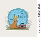 funny cartoon dog in headphone... | Shutterstock .eps vector #742665244