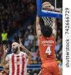 Small photo of ZAGREB, CROATIA - OCTOBER 22, 2017: ABA League 2017/2018, Round 5 - Cedevita VS Crvena zvezda. Chris JOHNSON (4) and Pero ANTIC (12)