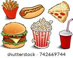 fast food items hamburger ... | Shutterstock .eps vector #742669744